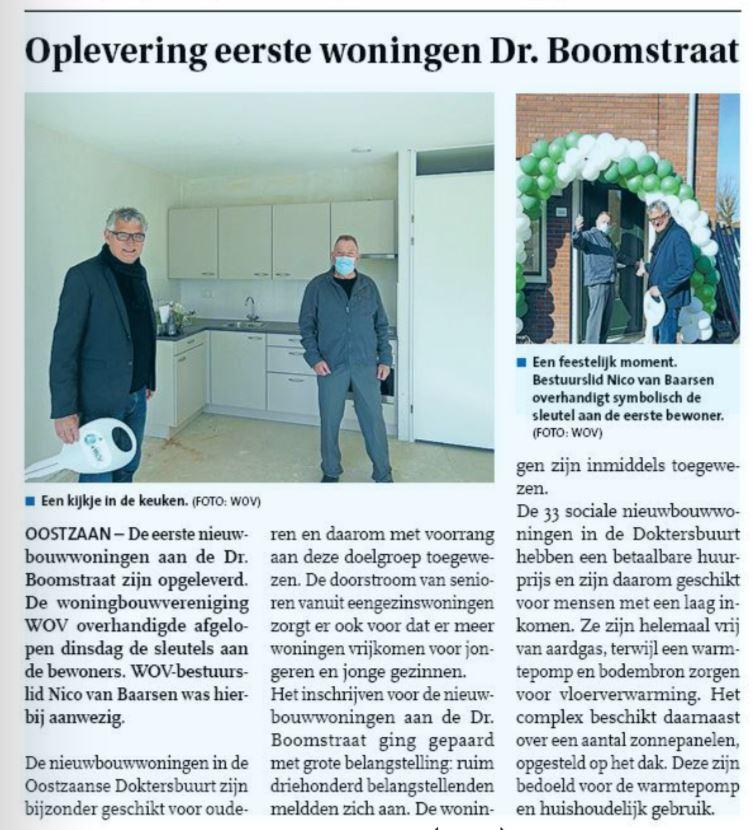 Oplevering eerst woningen.                        Dr. Boomstraat Oostzaan